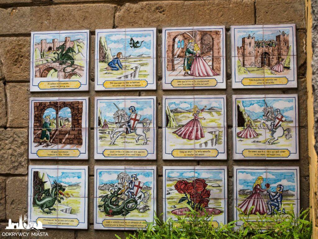 Poble espanol kafle z historiami umieszczone na ścianie