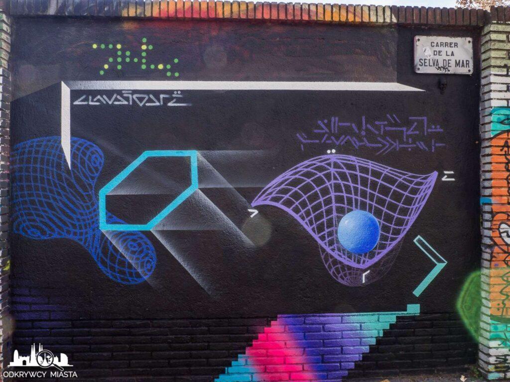 Street Art Barcelona park grafik figury geometryczne na czarnym tle