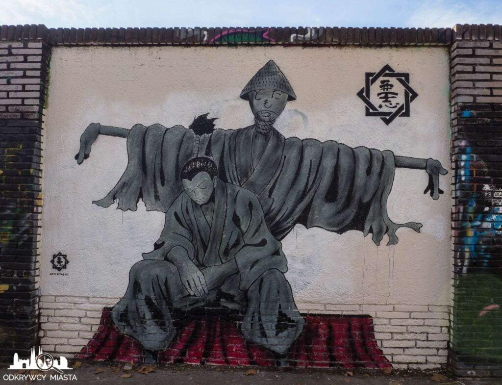Street Art Barcelona park grafik japoński wojownik