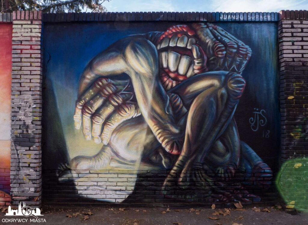 Street Art Barcelona park grafik przestraszony obcy