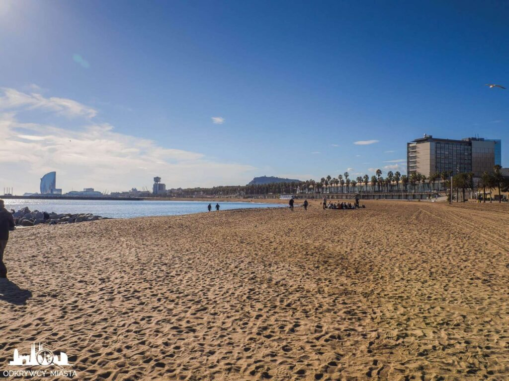 plaża barceloneta morze oraz hotel W w oddali