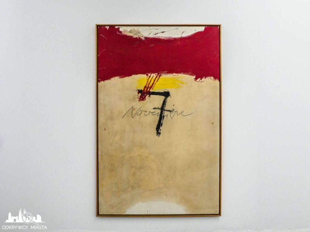 Antonio tapies obraz czerwonej linii i cyfry siedem