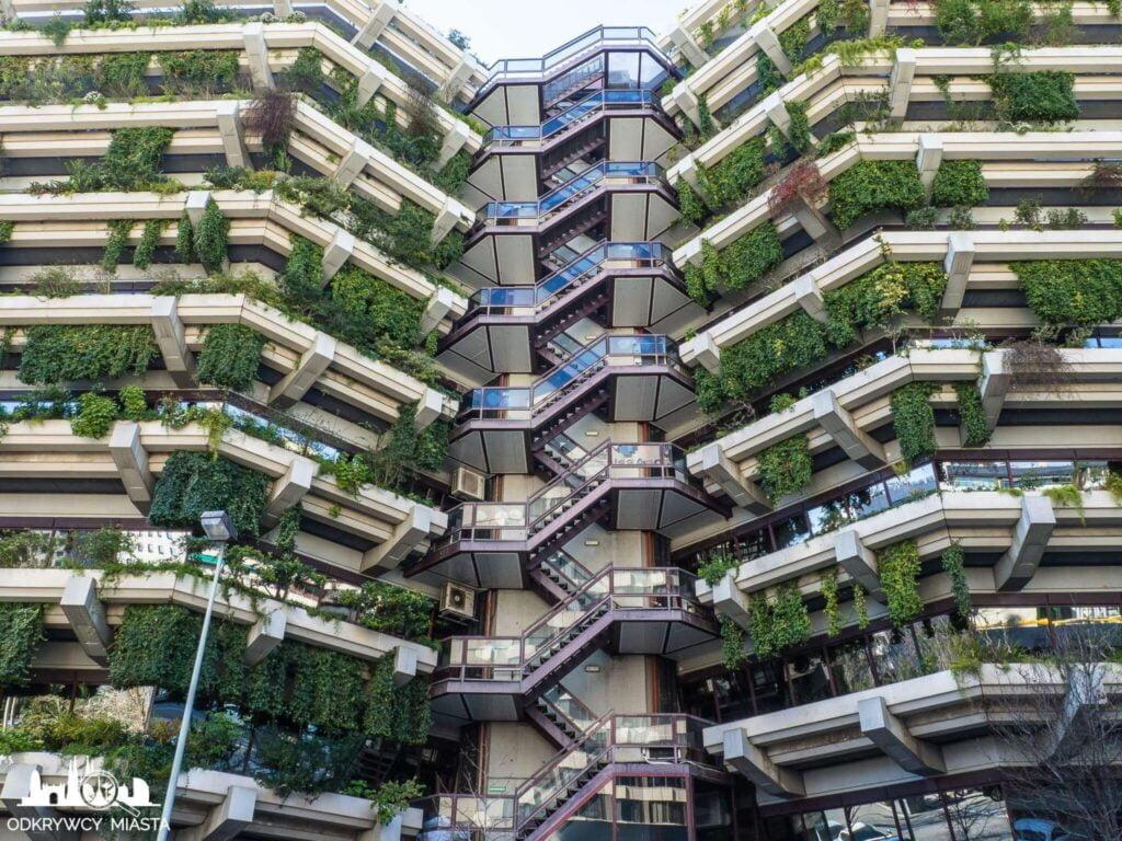 Pionowa ogrody fundacja planeta klatka łącząca 2 budynki