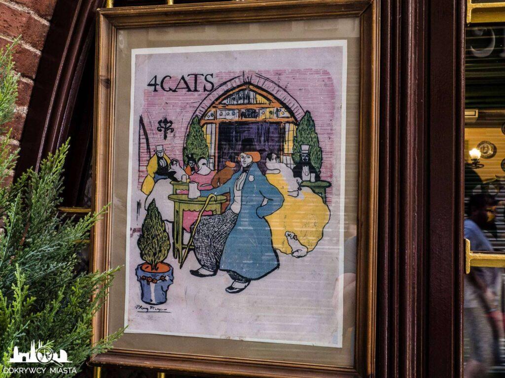 el 4 gats restauracja modernistyczna karta menu zaprojektowana przez p. Picasso