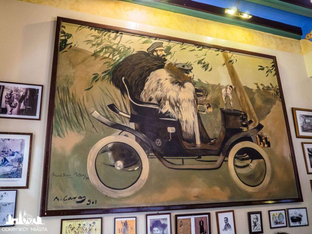 el 4 gats restauracja modernistyczna obraz pere remeu z przyjacielem w samochodzie