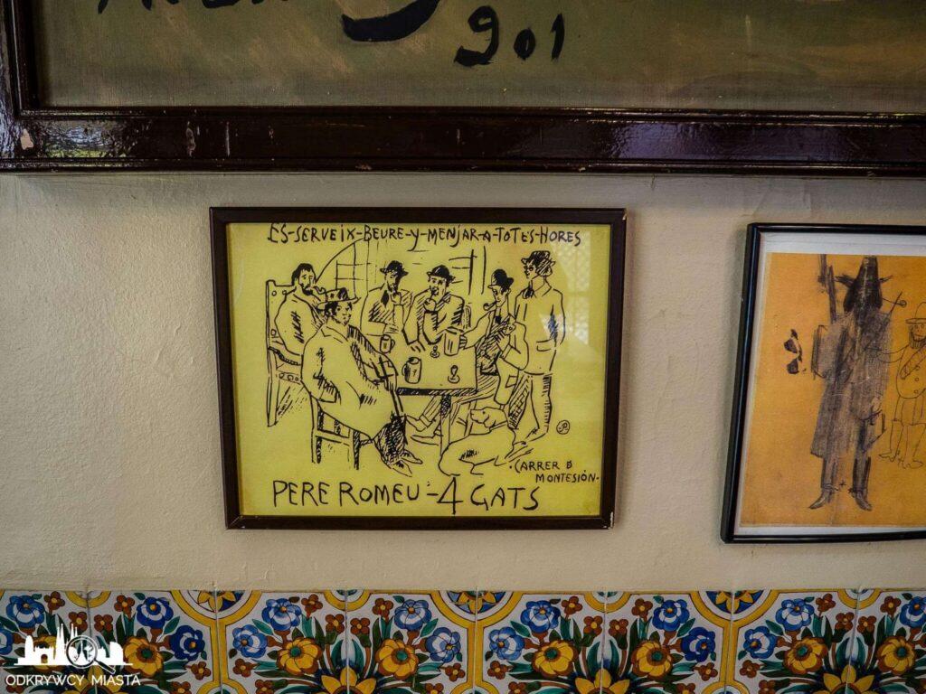 el 4 gats restauracja modernistyczna plakat reklamowy lokalu