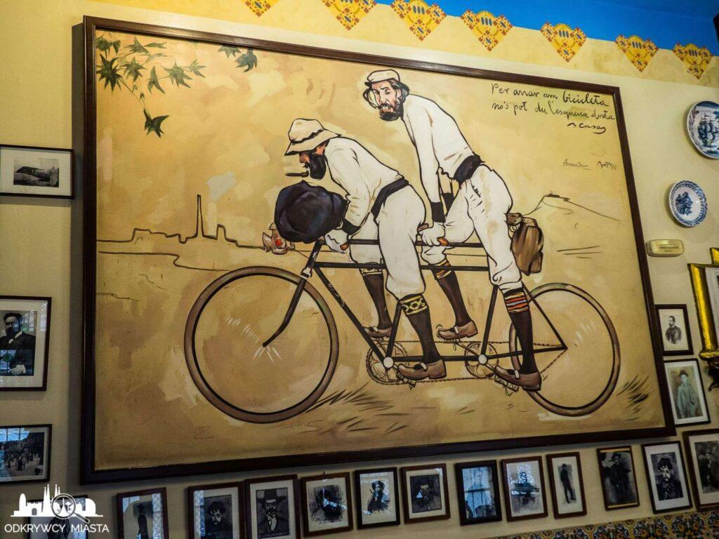 el 4 gats restauracja modernistyczna pere remeu z przyjacielem na biciklecie