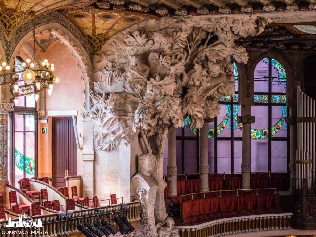 pałac muzyki katalońskiej popiersie p. clave popularyzatora muzyki katalońskiej